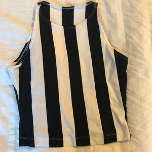 Black and white stripe American apparel tank crop